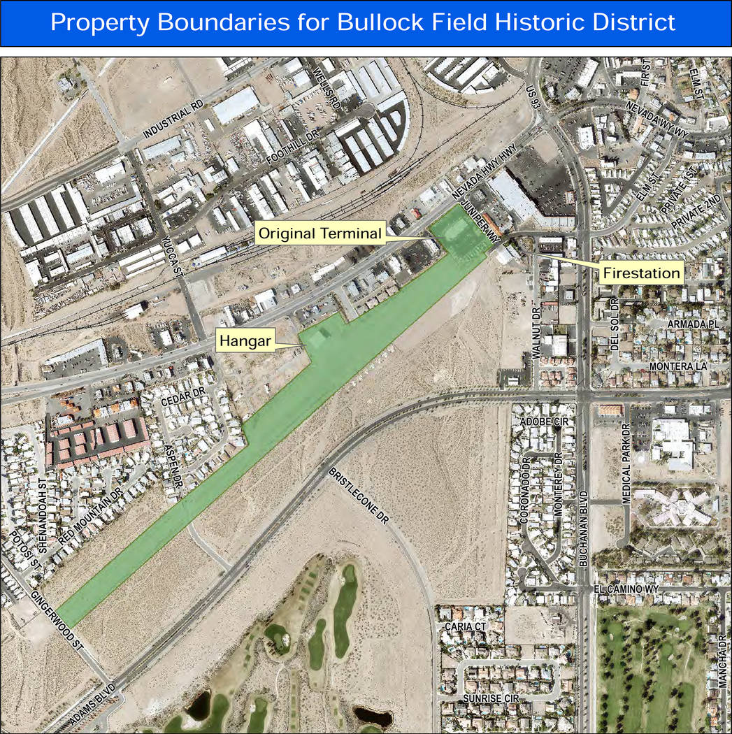 Boulder City  Boulder City's Historic Preservation Committee has proposed the creation of a new historic district that would encompass Bullock Field, the original airport terminal and the land whe ...