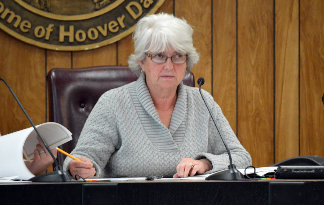 Celia Shortt Goodyear/Boulder City Review Parks and Recreation Commission Vice Chairman Bobbe Wilson listens to a presentation about the proposed new pool design at the commission's meeting Monday.