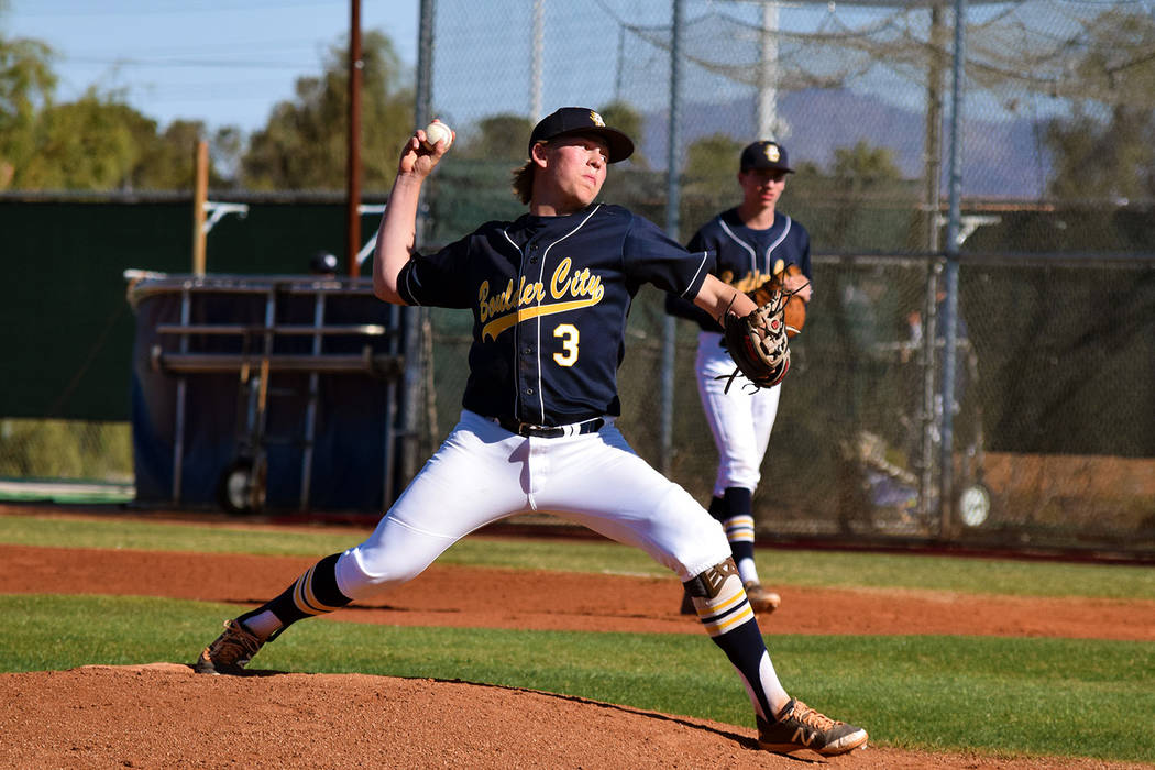 Robert Vendettoli/Boulder City Review Boulder City High School senior Rhett Armstrong throws a strike against Spring Valley on Monday.The Eagles defeated the Grizzlies 4-3.
