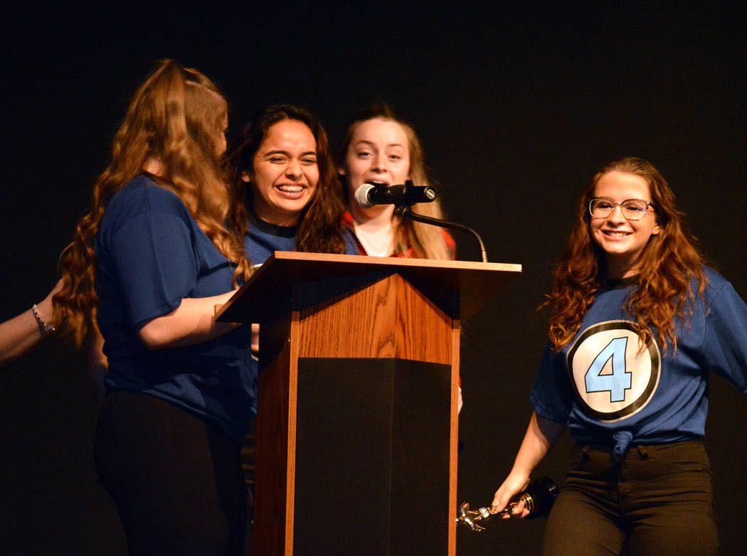 Celia Shortt Goodyear/Boulder City Review The Best Picture award at the 2018 BCMAs is presented to, from left, Kaitlin Larkin, Darleene Canedo, Bryanna Daugherty and Lily Shetler.