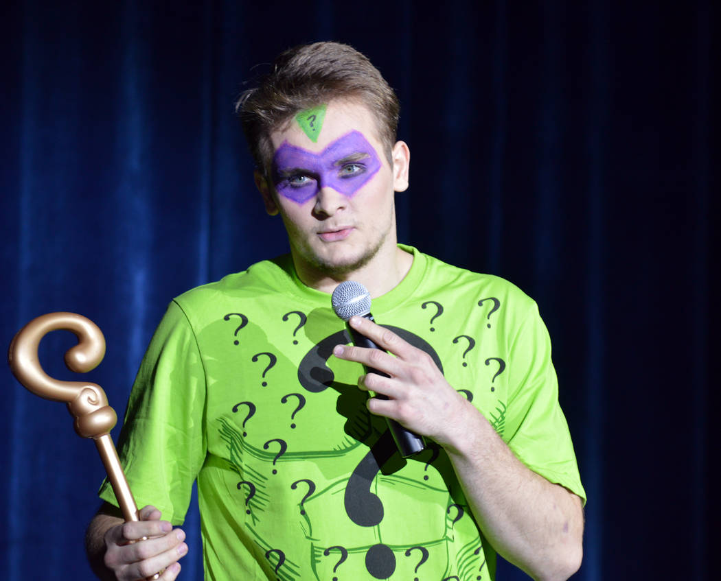 Celia Shortt Goodyear/Boulder City Review Cole Smyth leads the Riddle Me This game at the 2018 Boulder City Music Awards in the new high school theater.