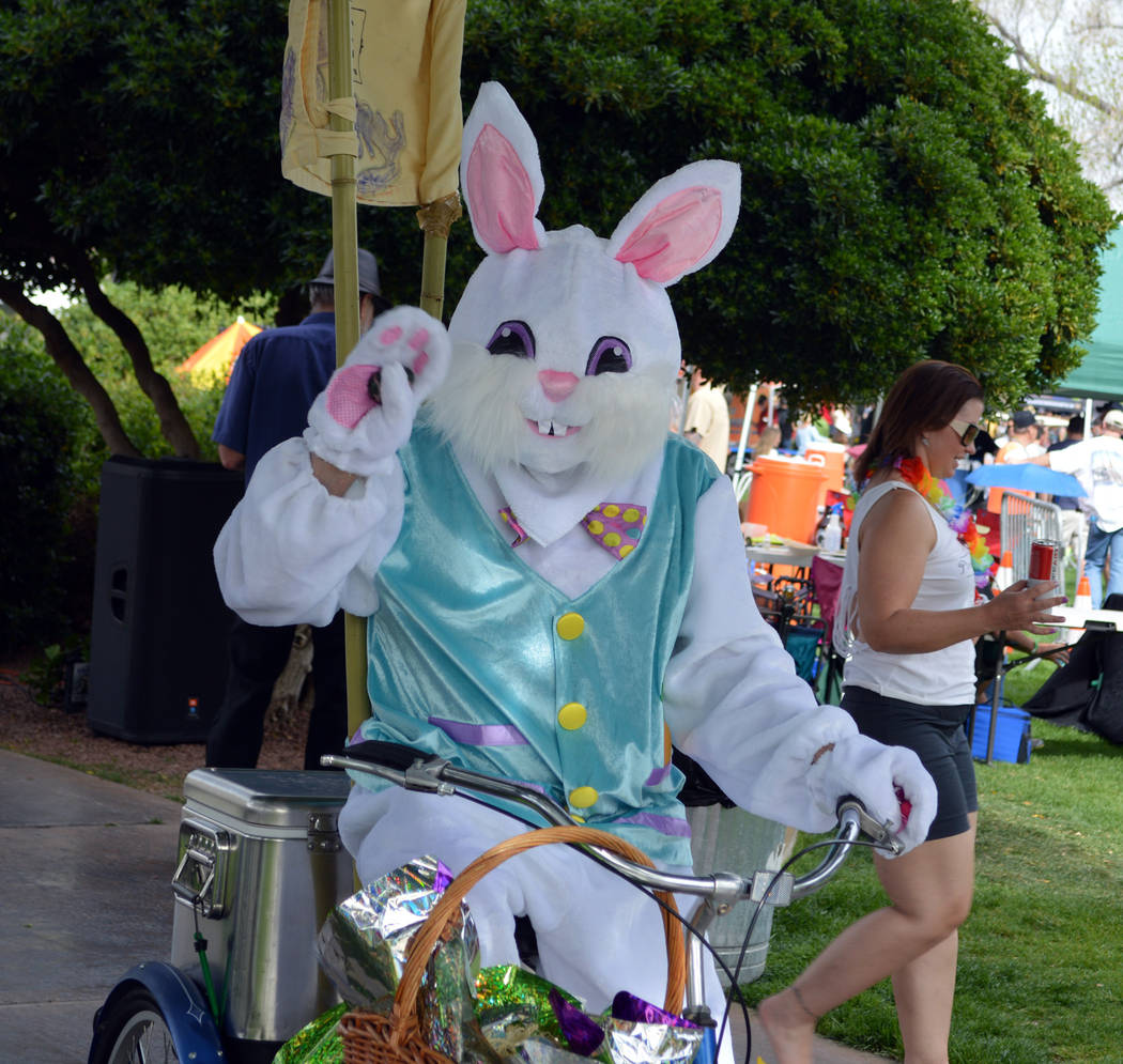 Celia Shortt Goodyear/Boulder City Review The Beer Bunny hid eggs at the 2018 Boulder City Beerfest on Saturday for children of all ages to find.