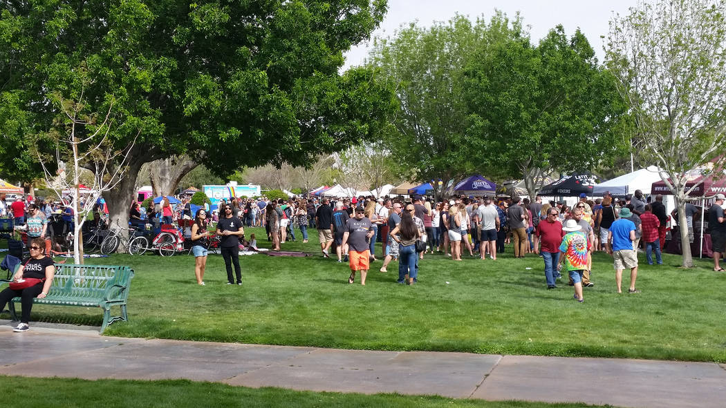 Celia Shortt Goodyear/Boulder City Review Crowds packed Wilbur Square Park on Saturday for the 2018 Boulder City Beerfest.