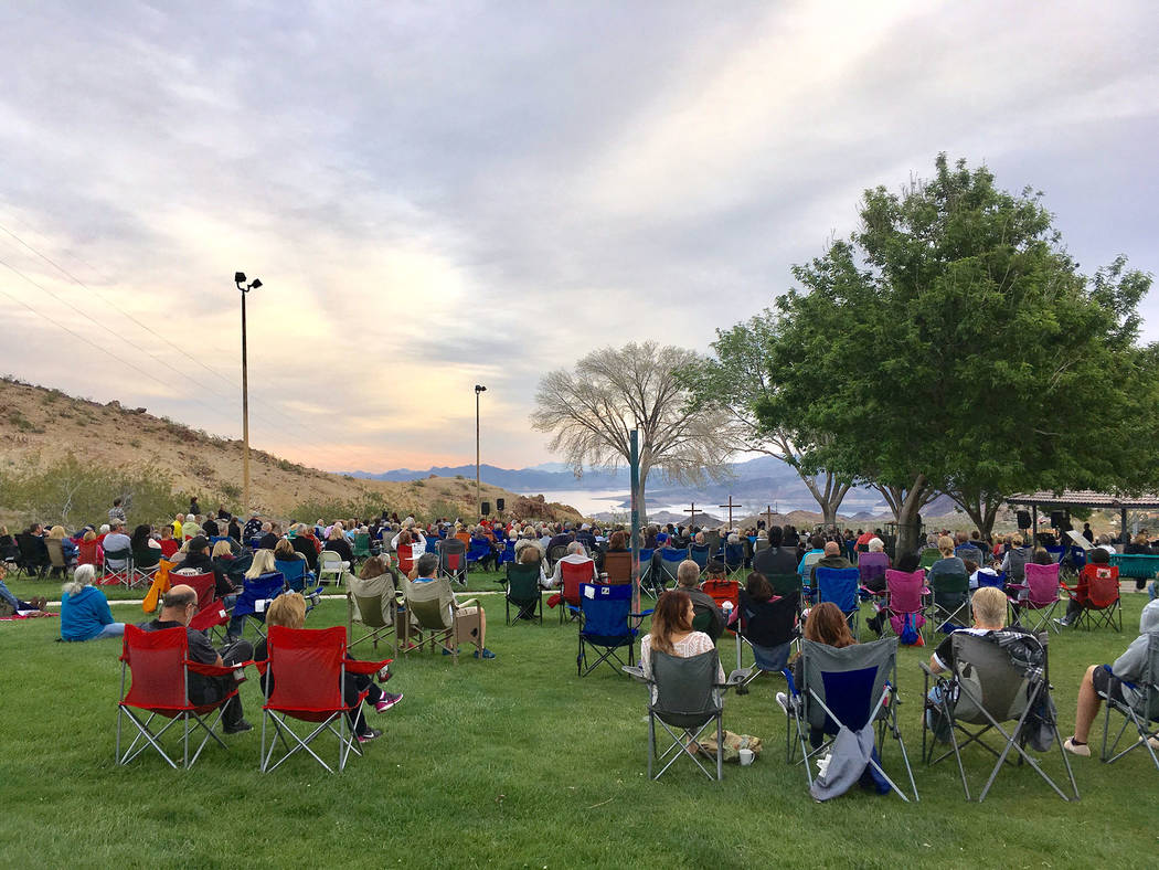 Kathy Whitman Approximately 500 people attended the Easter Sunrise service at Hemenway Valley Park on Sunday. The Boulder City Interfaith Lay Council organizes the yearly event.