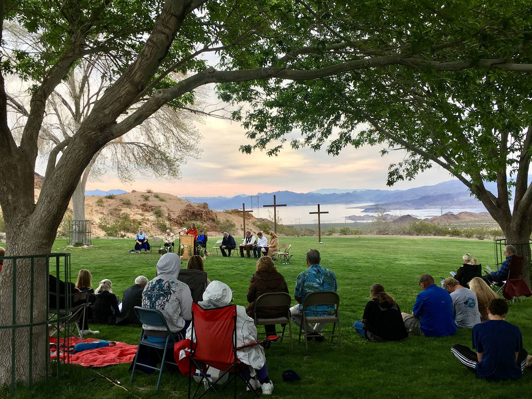 Kathy Whitman The Boulder City Interfaith Lay Council held its annual sunrise Easter service on Sunday.