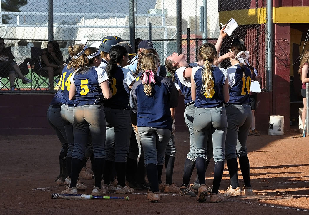 Horace Langford Jr./Pahrump Valley Times  Senior Summer Coyle celebrates her seventh-inning home run with her softball team as Boulder City High School earned a 3-1 victory over Pahrump Valley on  ...