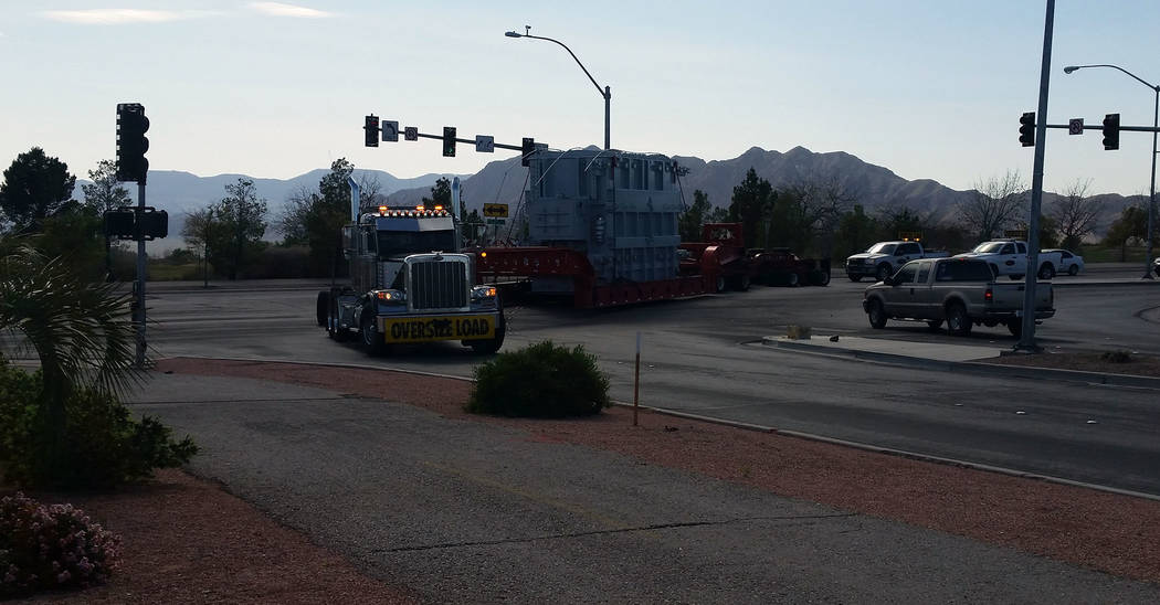Celia Shortt Goodyear/Boulder City Review Boulder City's new backup transformer makes its way down Adams Boulevard on April 4 so it could be installed at the BC Tap off Utah Street. This piece of  ...