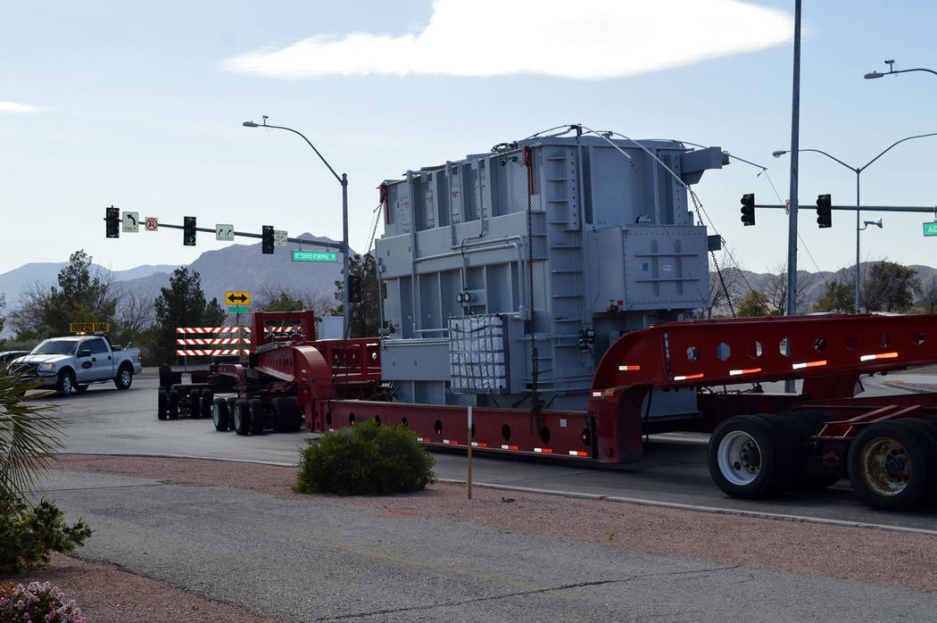 Celia Shortt Goodyear/Boulder City Review Boulder City's new transformer weighs almost 109 tons and will provide a more reliable backup electrical system for residents.