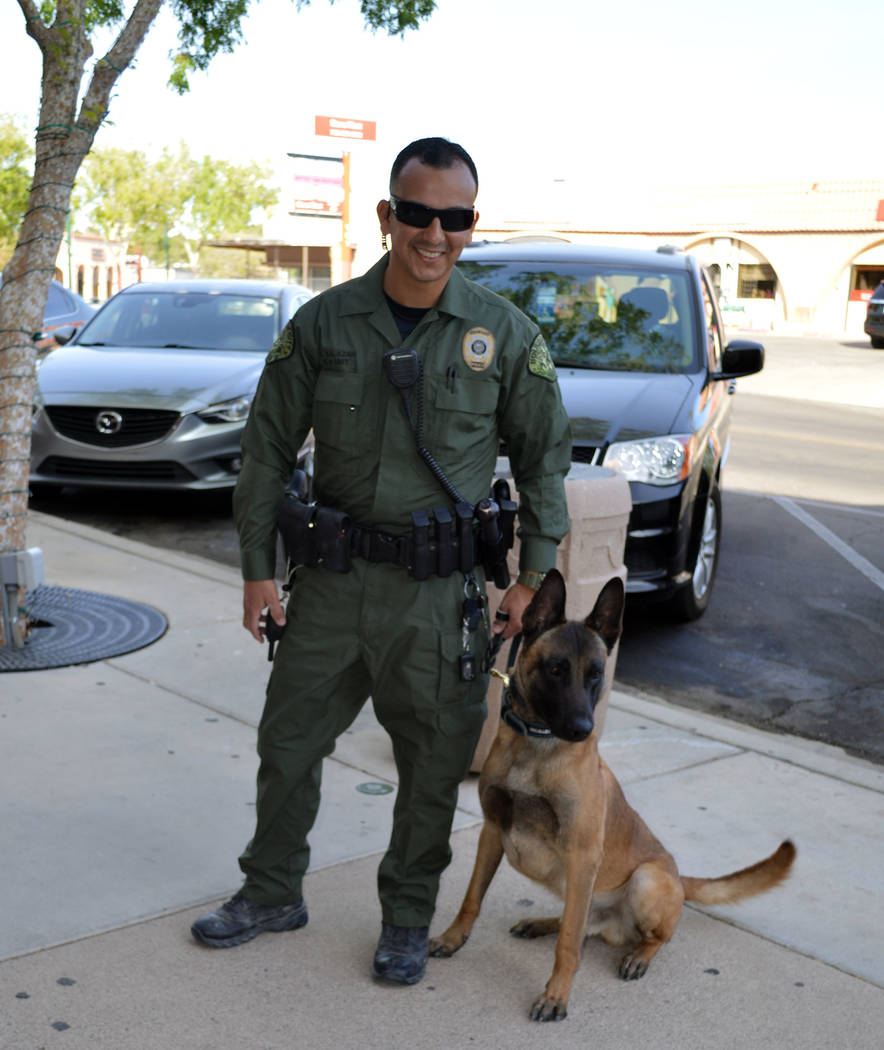 Celia Shortt Goodyear/Boulder City Review Boulder City Police officer Armando Salazar and Lloyd, a Belgian Malinois, are the newest members of the K-9 unit at the police department.