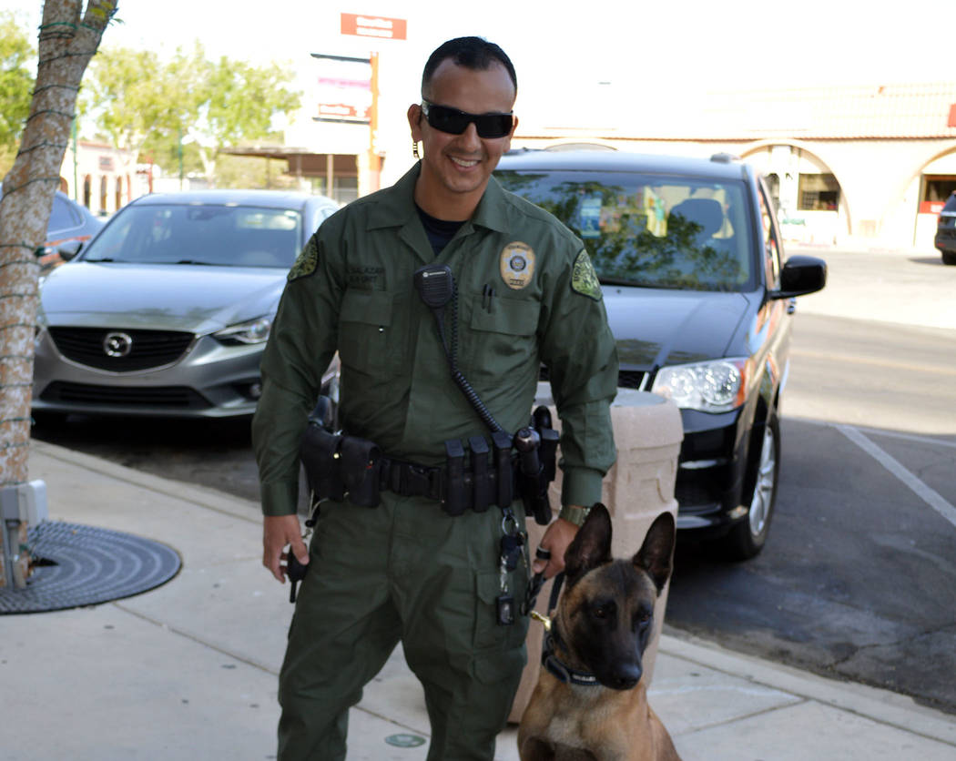 Celia Shortt Goodyear/Boulder City Review Boulder City Police K-9 Officer Armando Salazar and Lloyd are the two newest members of the K-9 unit at the police department.