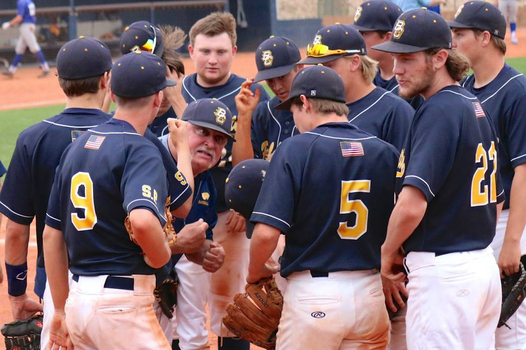 """Tied 4-4 in the bottom of the eight of a seven-inning game against Moapa Valley on Friday, Head Coach Ed McCann rallies his team of Eagles with a war cry of """"It's our time. It's our house. Let's t ..."""