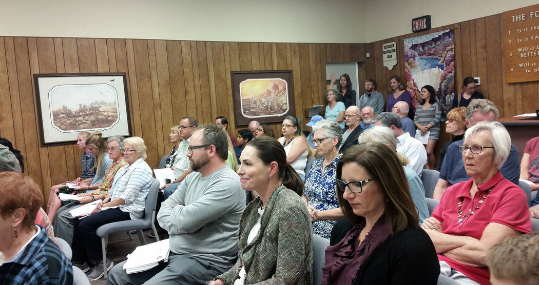 Celia Shortt Goodyear/Boulder City Review Residents packed the City Council meeting on Tuesday, April 10, 2018, to share their opposition to selling historic properties in Boulder City.