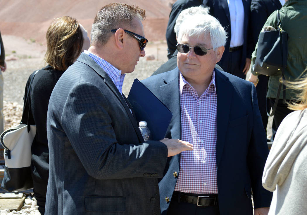 Celia Shortt Goodyear/Boulder City Review City Manager Al Noyola, left, and Boulder City Councilman Kiernan McManus chat during The Final Spike - A Historic Reconnection on Friday, April 13, 2018.