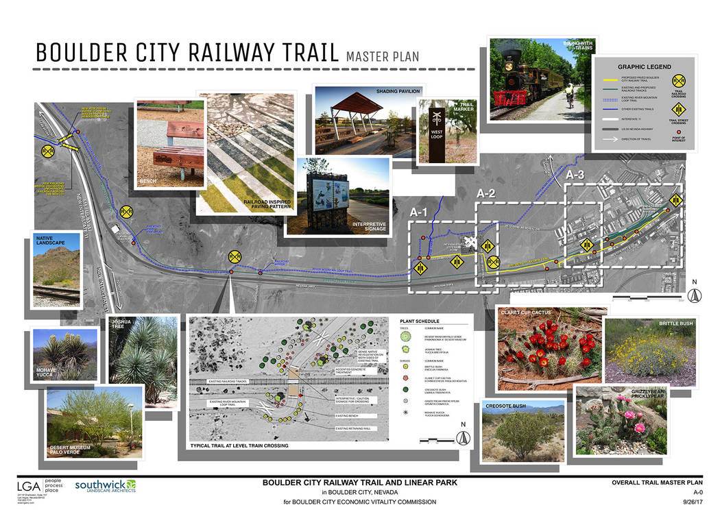 LGA Plans for the Boulder City Railway Train and linear park connecting to the Nevada State Railroad Museum in Boulder City were showcased Friday, April 13, 2018, during the ceremony to reconnect ...