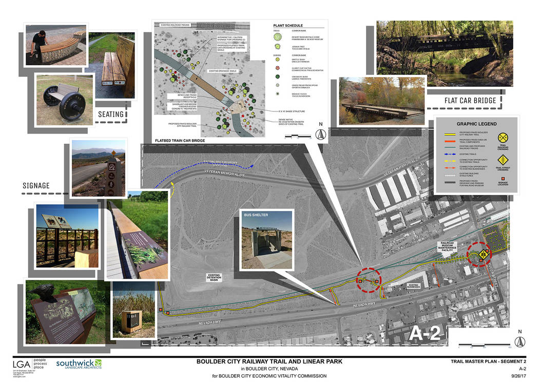 LGA Detailed plans for the Boulder City Railway Train and linear park connecting to the Nevada State Railroad Museum in Boulder City were showcased Friday, April 13, 2018, during the ceremony to r ...