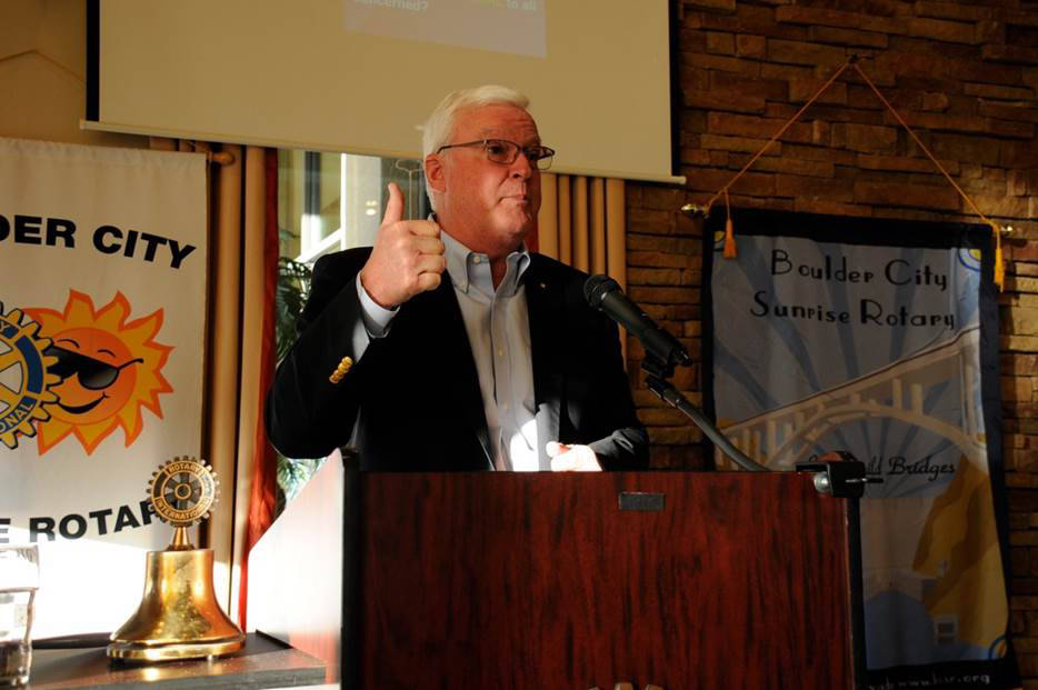 John Matthews, incoming vice president and director for Rotary International, was the guest speaker at a recent Boulder City Sunrise Rotary Club meeting. He spoke about the importance of members s ...