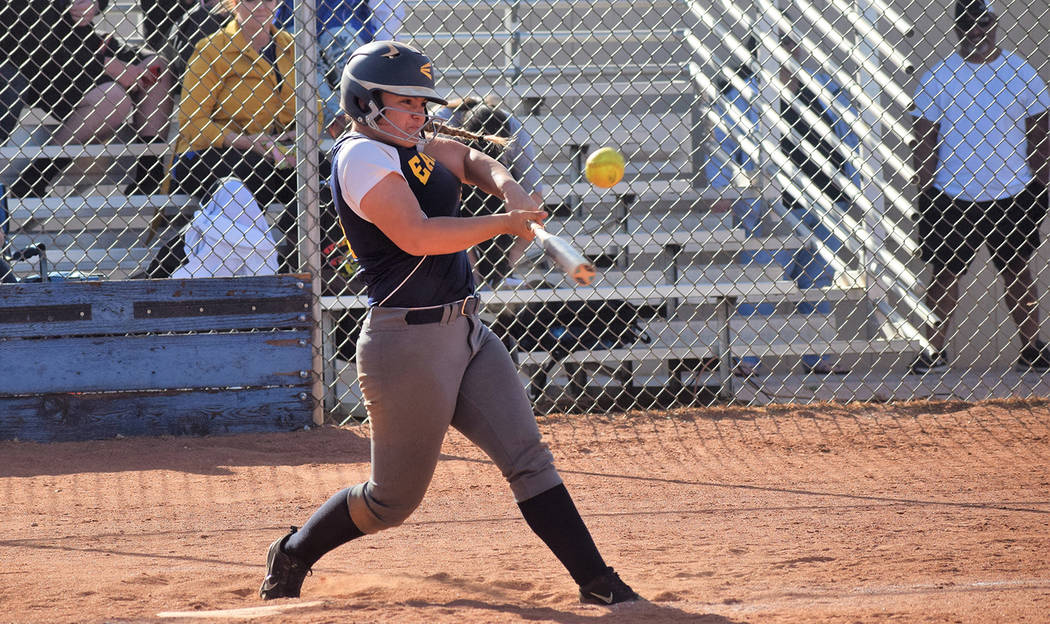 Boulder City High School senior infielder Lily Osman slugs out a third-inning triple Monday against Sierra Vista. The Lady Eagles lost 11-3. Robert Vendettoli/Boulder City Review