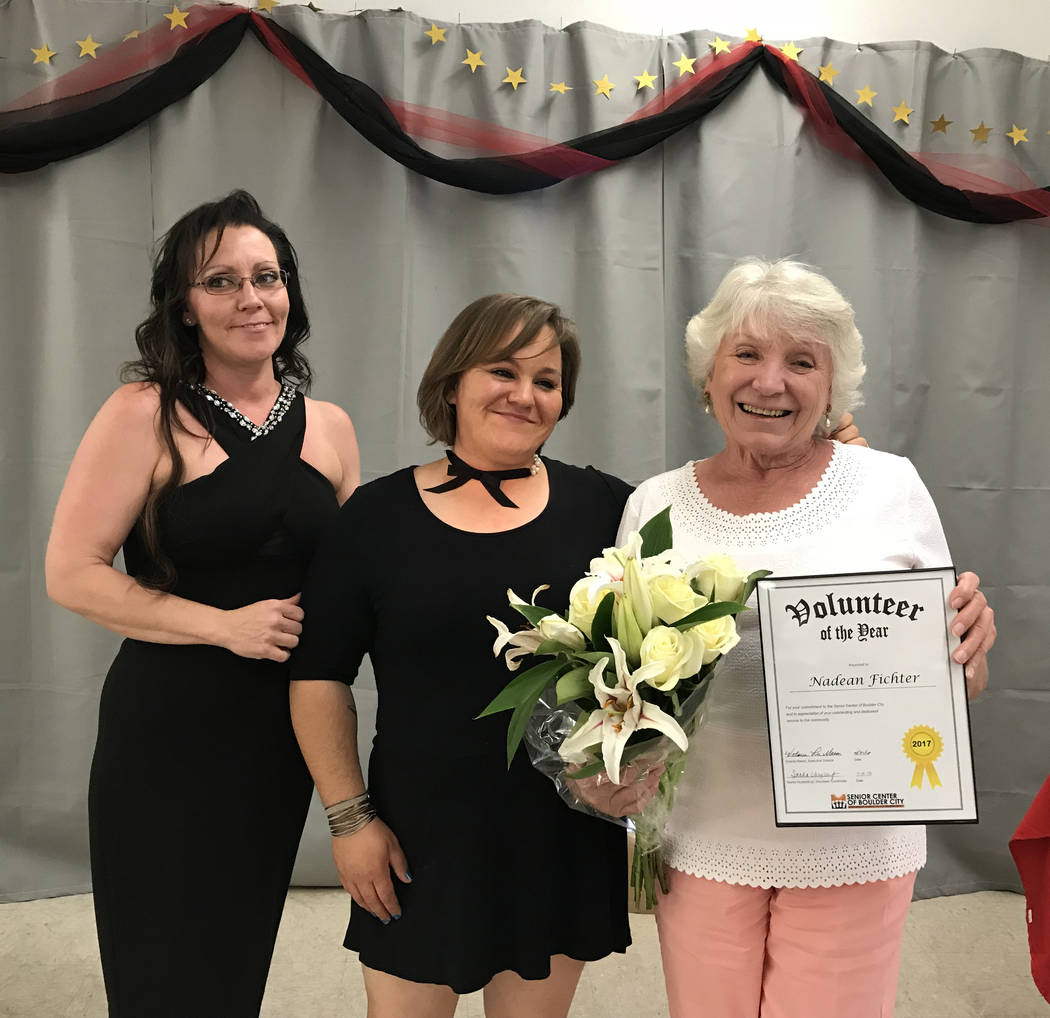Hali Bernstein Saylor/Boulder City Review Nadean Fichter, right, was named Volunteer of the Year for the Senior Center of Boulder City during its annual volunteer appreciation luncheon on Saturday ...