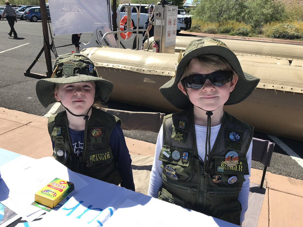Hali Bernstein Saylor/Boulder City Review Siblings Lexie, 5, and Gary Wentz, 6, of Boulder City are on a mission to visit every national park and stopped by Lake Mead National Recreation Area on S ...