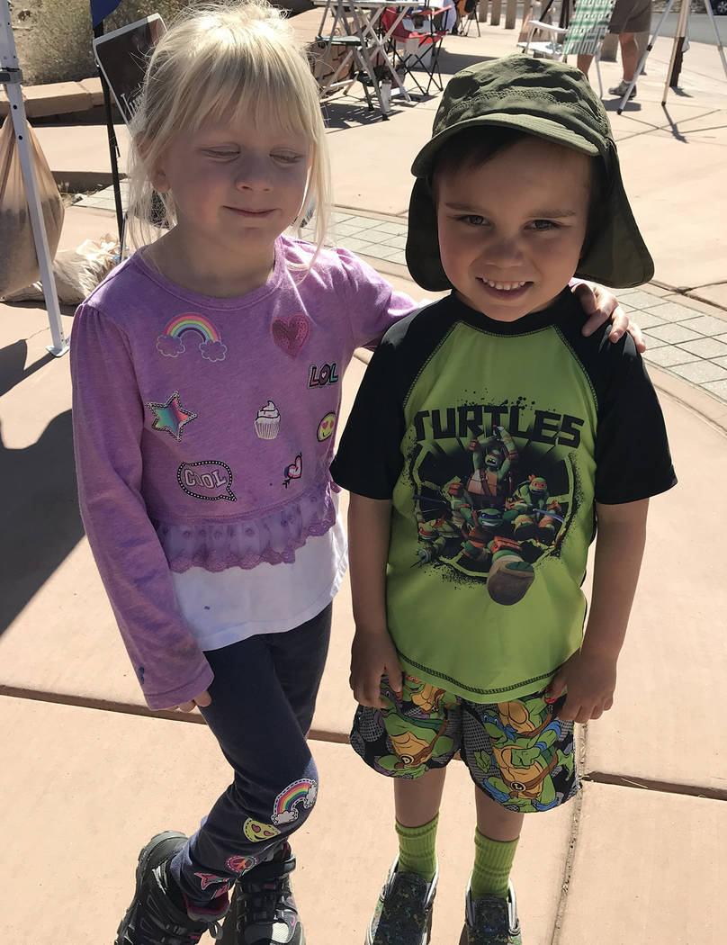 Hali Bernstein Saylor/Boulder City Review Friends Cassie Lustig, 4, and Samuel Alexander, 5, of Las Vegas, came to Lake Mead National Recreation Area on Saturday to participate in Junior Ranger Da ...