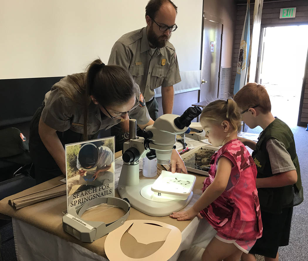 Hali Bernstein Saylor/Boulder City Review Jennifer Bailard and Michael Steiner of the Mojave Desert Network brought springsnails and aquatic insects for children to study during Junior Ranger Day ...