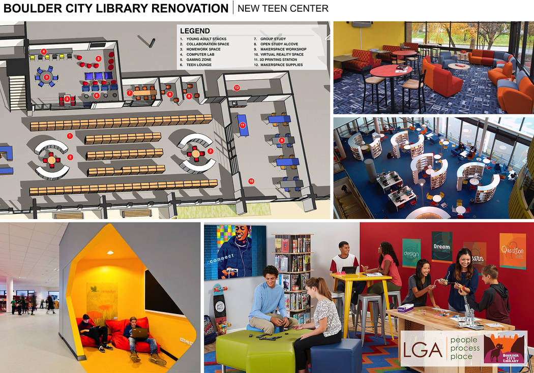 LGA The proposed renovation for the Boulder City Library includes designated areas in the lower level for youths and teens.