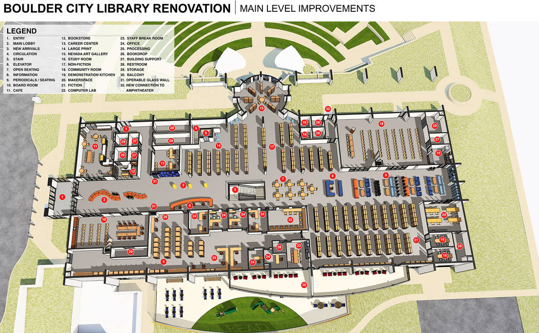 LGA The proposed renovation to the Boulder City Library includes changes and improvements to the current facility. These plans were on unveiled at the library's 75 anniversary celebration on Friday.