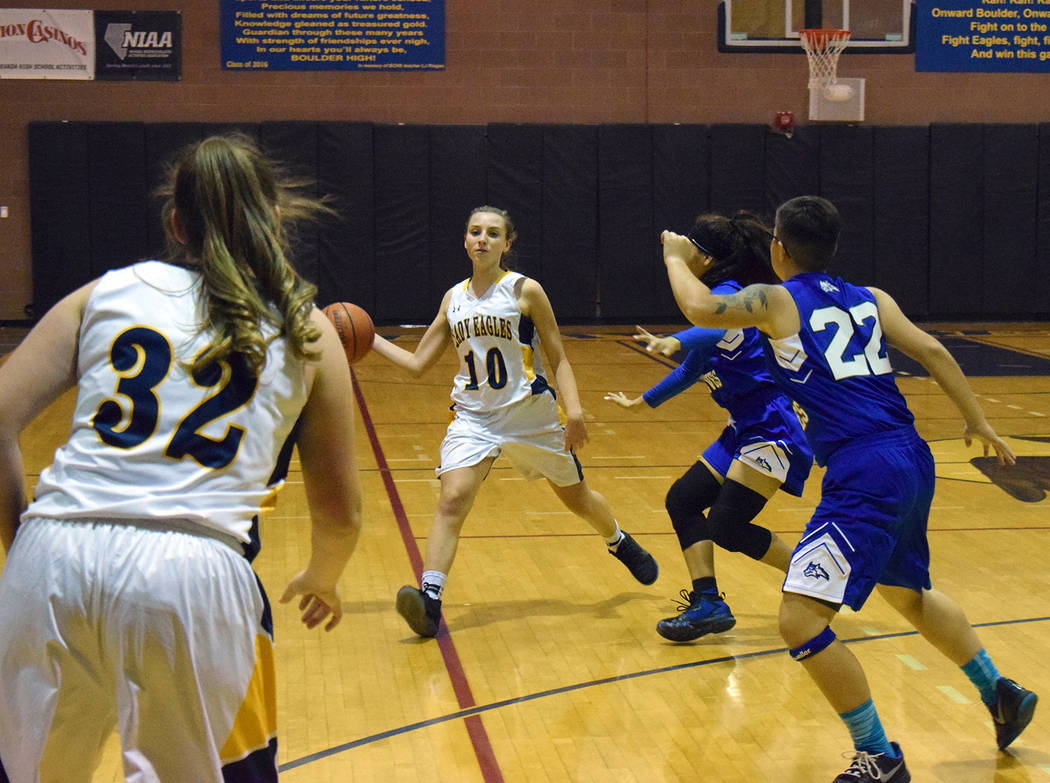 Robert Vendettoli/Boulder City Review Madison Manns, a sophomore at Boulder City High School, works her way through a pack of Lady Wolves from Basic High School during the Lady Eagles' 47-27 loss ...