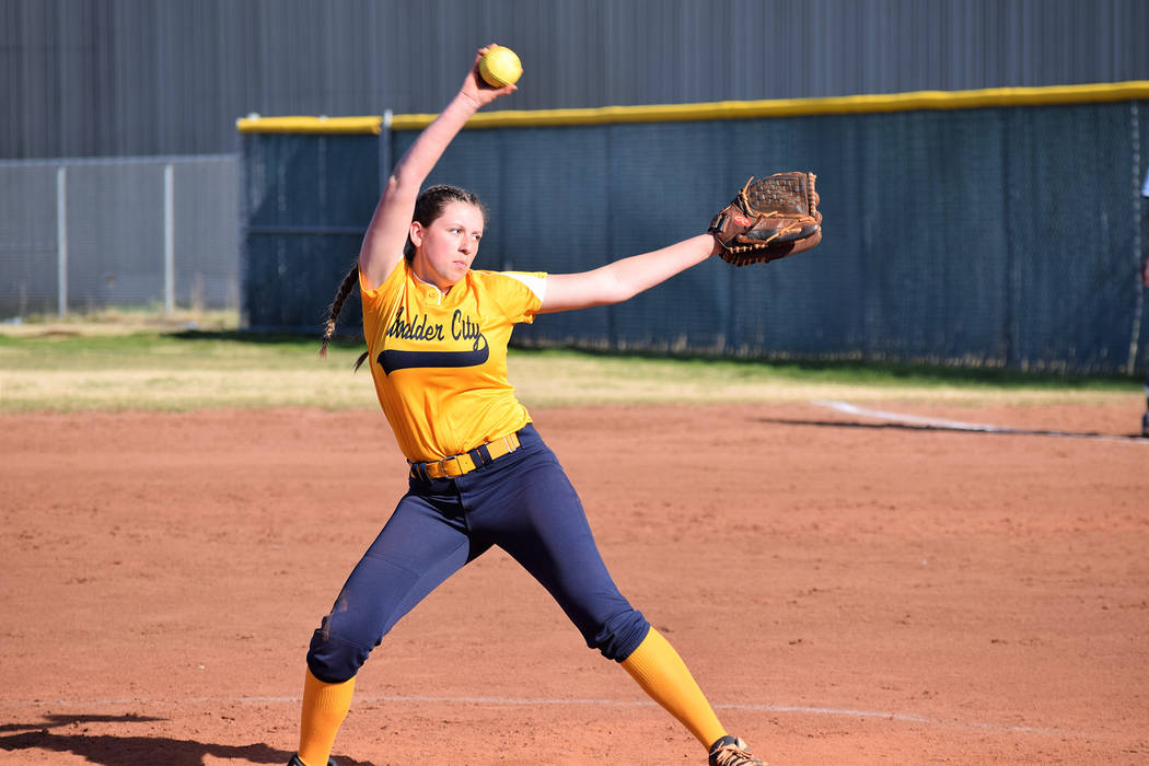 Boulder City High's junior starter Abby Giunta, seen on the mound March 19 against Western, pitched a complete game, allowing six runs on 13 hits, against the Del Sol Dragons on April 19. Robert V ...