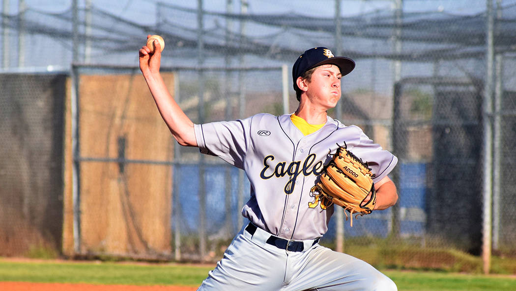 Robert Vendettoli/Boulder City Review Boulder City High School freshman Joey Giunta, seen on the mound in the Eagles' game against Sierra Vista on April 16, picked up the win April 19 against Del Sol.