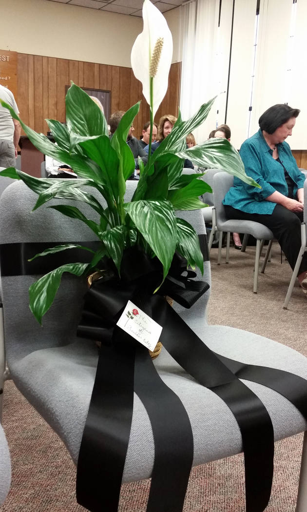 Celia Shortt Goodyear/Boulder City Review Longtime resident Ed Waymire was a constant at City Council meetings. He died Friday and council honored his memory by placing a lily and a black ribbon a ...