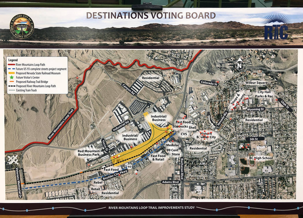 LGA At a community open house April 26, the residents who attended were given several red pins to mark what destinations in Boulder City from the River Mountain Loop Trail they thought would be im ...