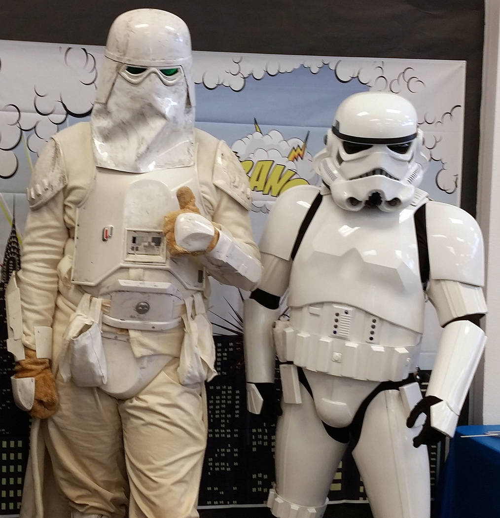 Celia Shortt Goodyear/Boulder City Members of the Imperial Forces stopped by Superhero Saturday at the Boulder City Library on Saturday, April 28, 2018. They are part of the Neon City Garrison of ...