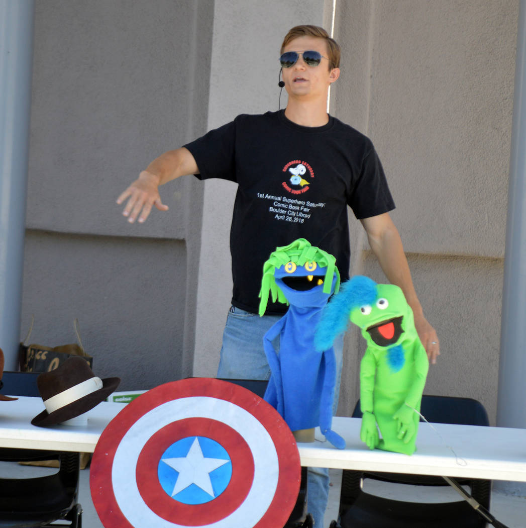 Celia Shortt Goodyear/Boulder City Review Cosplayer Ryan Carlton showcases some of the costumes he made as well as sharing the inspiration behind his work, Captain America's shield, at Boulder Cit ...