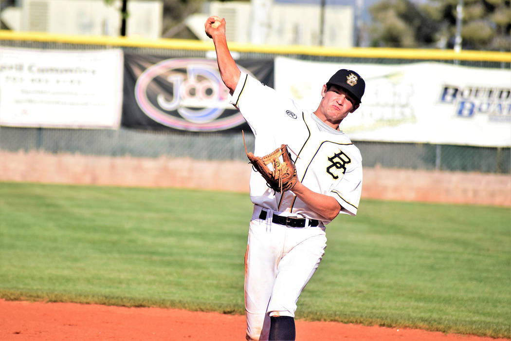 Robert Vendettoli/Boulder City Review D.J. Reese, a senior at Boulder City High School, seen firing a throw to first base to get the runner out in the Eagles' 14-2 victory against Southeast Career ...