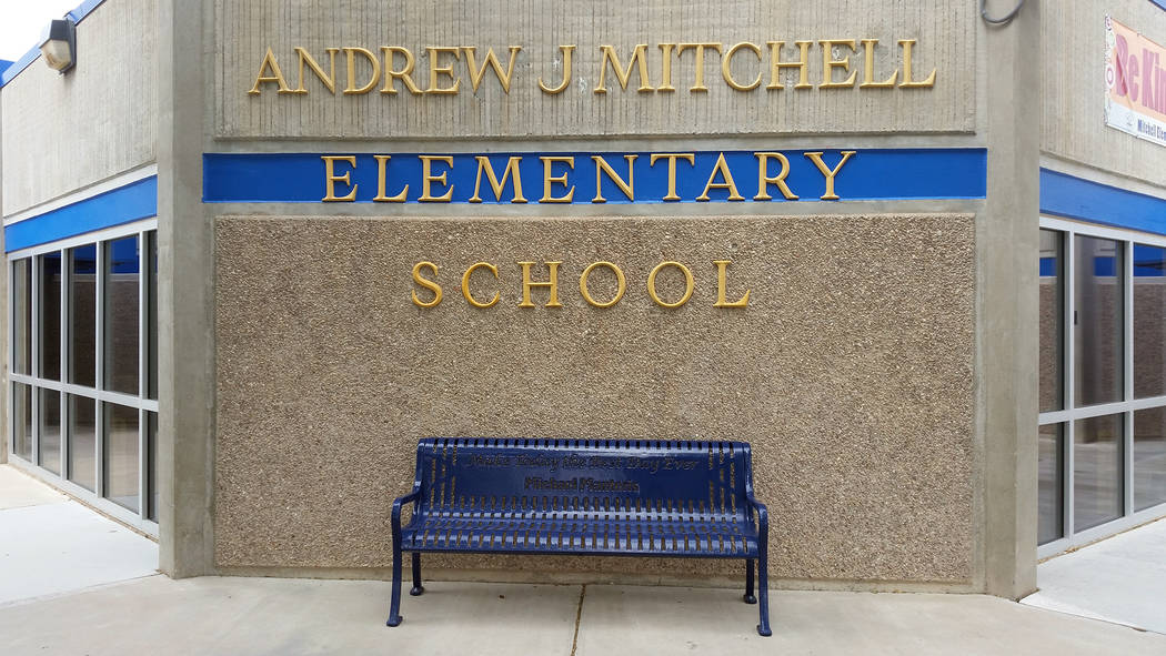 Celia Shortt Goodyear/Boulder City Review A bench honoring the late Micheal Manteris was dedicated on Tuesday, May 1, at Andrew J. Mitchell Elementary School. Students at all four Boulder City pub ...