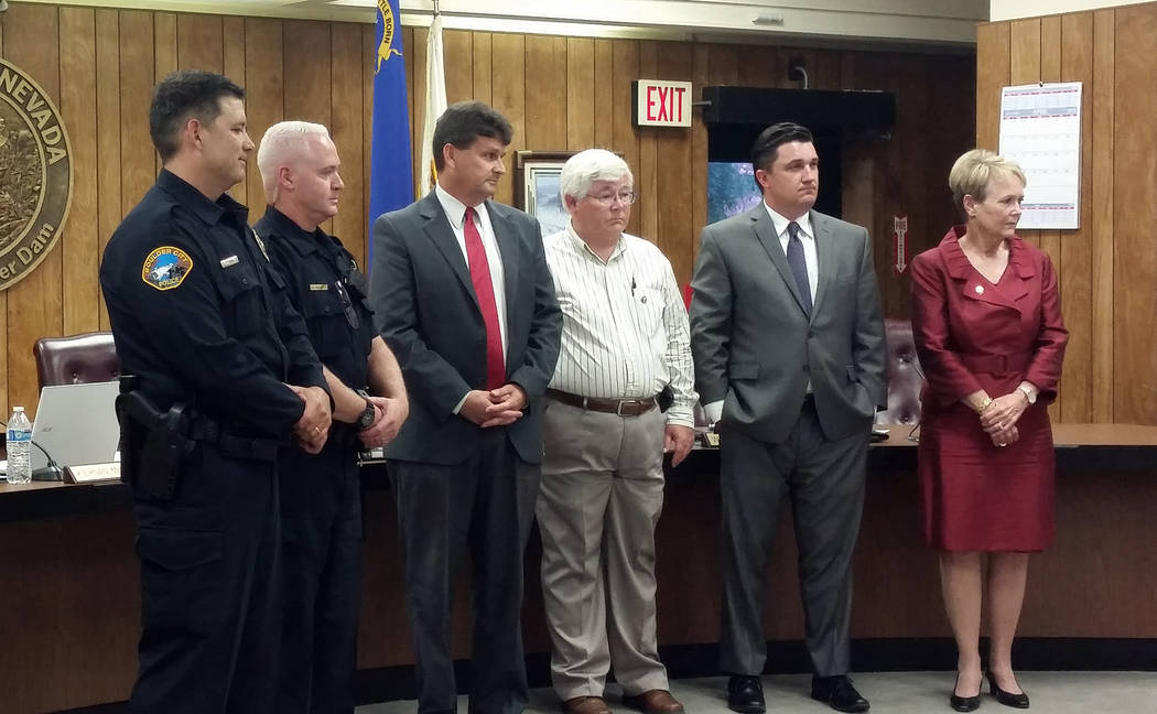Celia Shortt Goodyear/Boulder City Review Members of City Council and the Boulder City Police Department listen as a proclamation declaring May 6-12 at Public Service Recognition Week was read dur ...