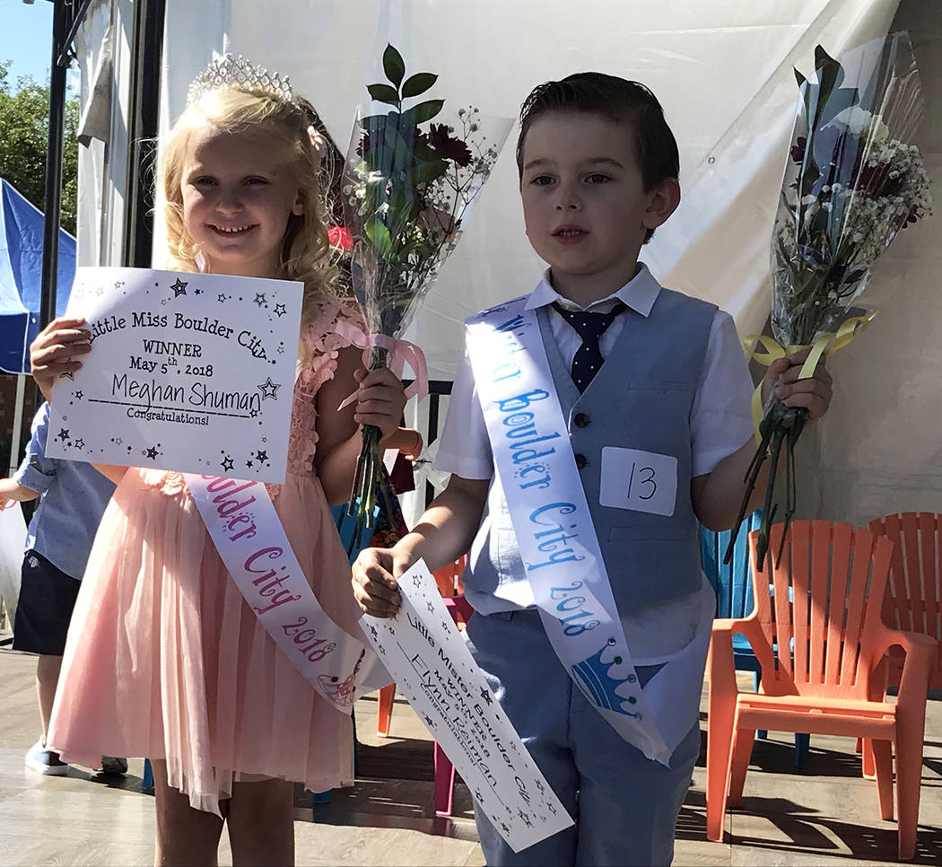 Hali Bernstein Saylor/Boulder City Review Meghan Shuman and Flynn Reiman were named Little Miss and Little Mister Boulder City for 2018 after competing against 12 other youngsters during the pagea ...