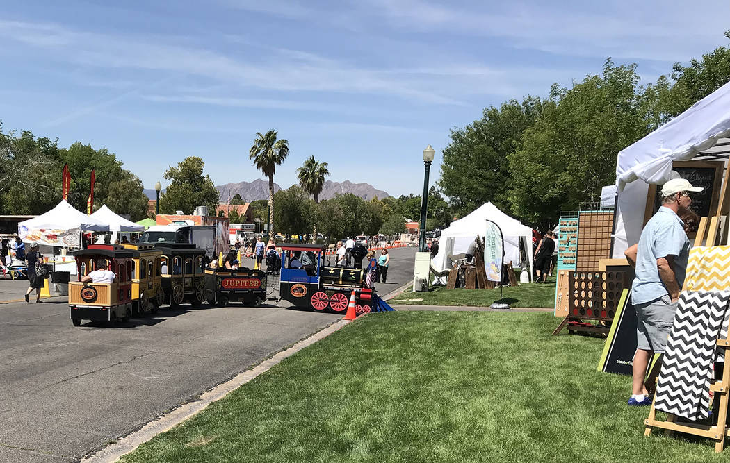 Hali Bernstein Saylor/Boulder City Review Activities for people of all ages including a train ride, food and craft vendors highlighted the annual Spring Jamboree presented by the Boulder City Cham ...