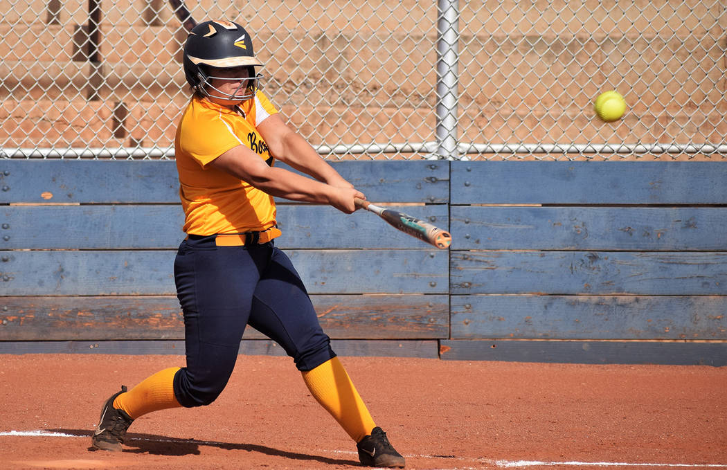 Robert Vendettoli/Boulder City Review Boulder City High School senior Lily Osman smacks a three-run home run in the second inning of the Lady Eagles 19-0 victory against Western on Tuesday, May 8, ...
