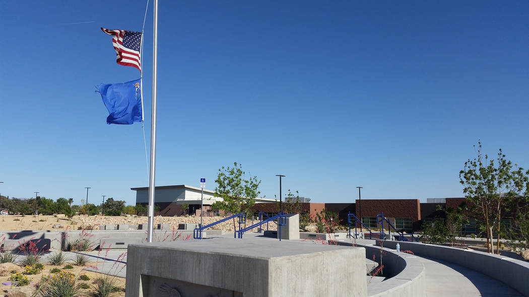 Celia Shortt Goodyear/Boulder City Review The plaza at Boulder City School gives a landscape view of the school which makes a good back drop for a graduation photo. On Monday, large letters spelli ...