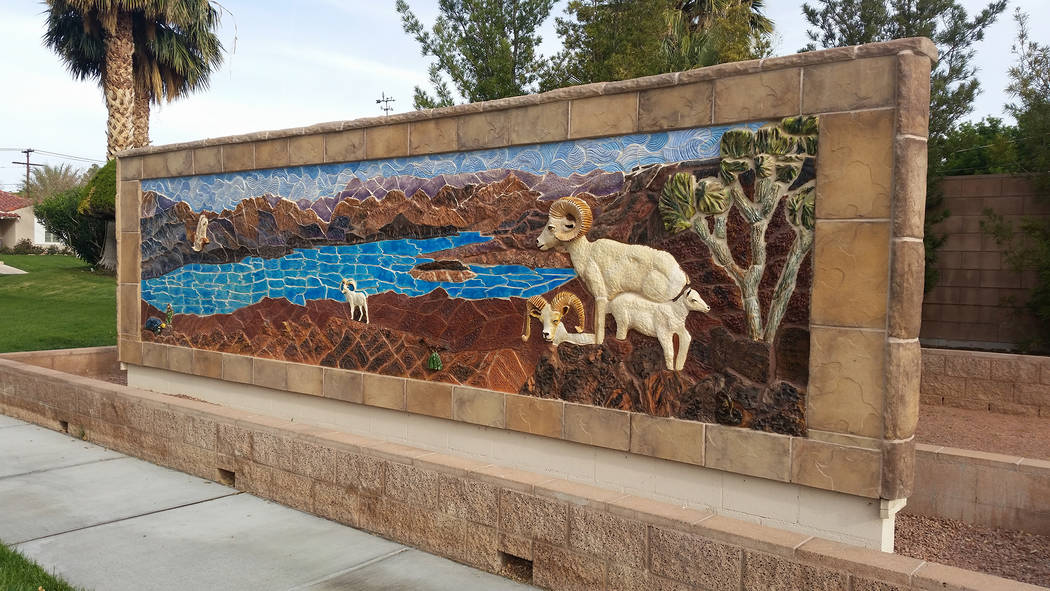 Celia Shortt Goodyear/Boulder City Review Boulder City's Sundial Park at 600 Nevada Way the Hemenway Vista Wall Mural, which could be a good place for a last minute graduation photo.