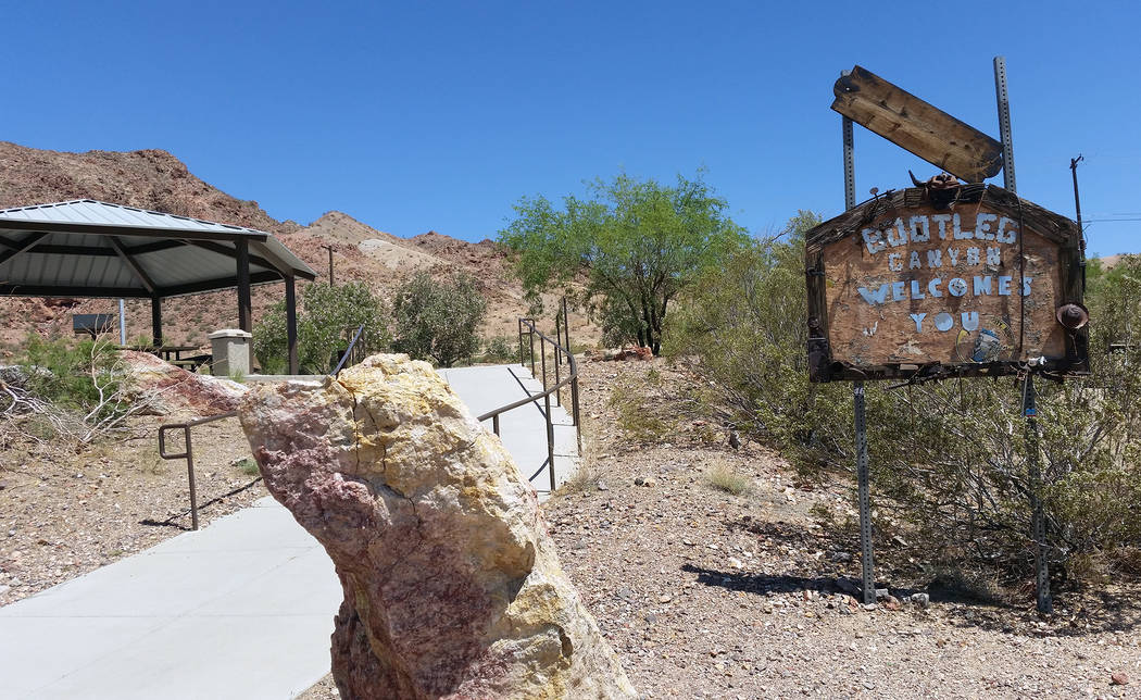 Celia Shortt Goodyear/Boulder City Review Bootleg Canyon is located in Boulder City off Yucca Street. Known for its 36 miles of trails for mountain biking and hiking. It also has great views of th ...