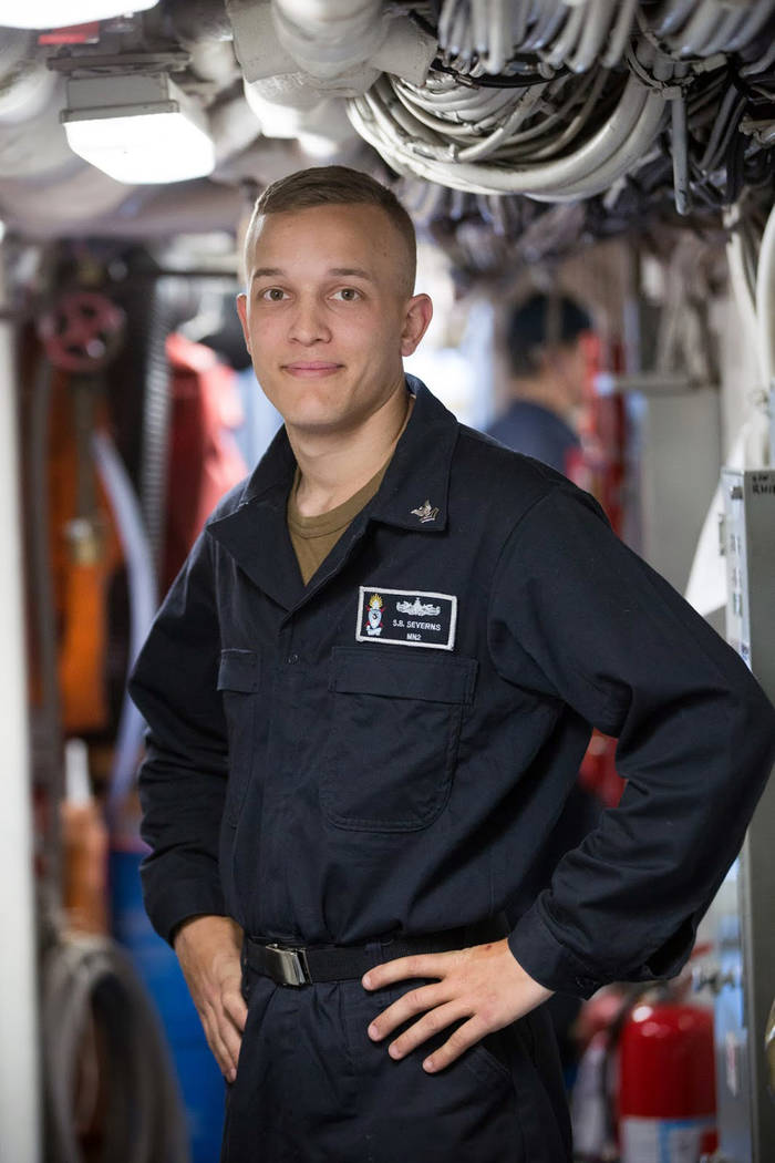 U.S. Navy Petty Officer 2nd Class Shay Severns is a Boulder City High School graduate and Boulder City native who is serving aboard the USS Pioneer.