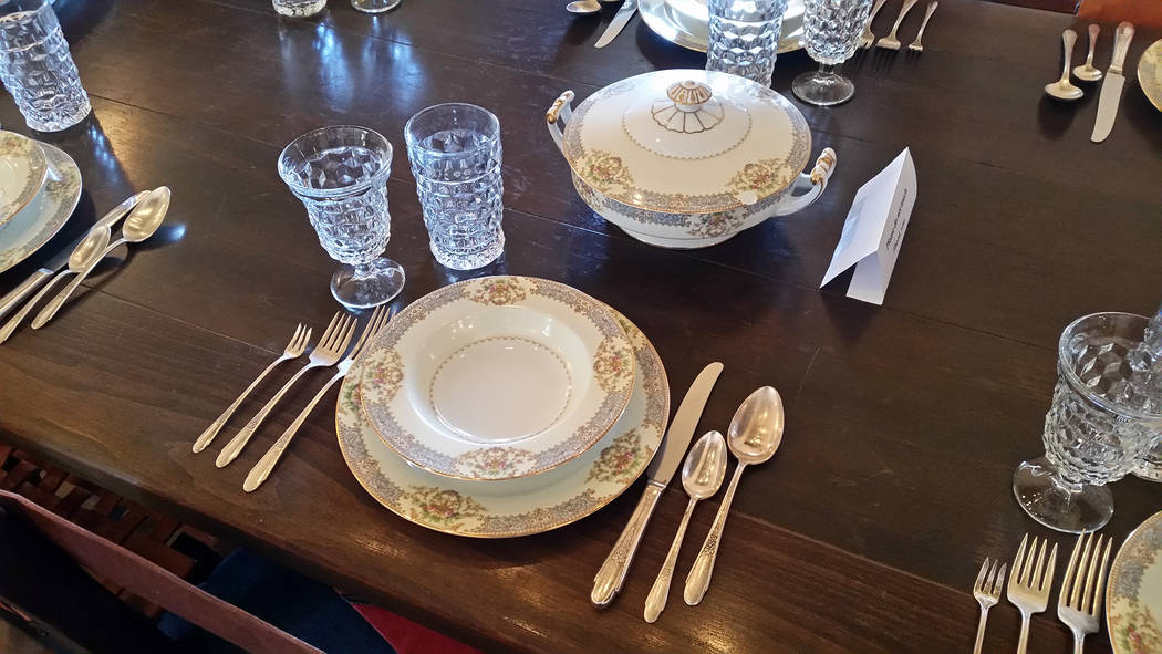 Celia Shortt Goodyear/Boulder City Review The Six Companies Executive Lodge also features historic china.