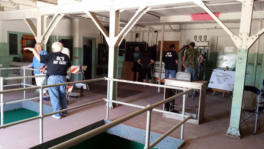 Celia Shortt Goodyear/Boulder City Review Residents and Historic Preservation Day attendees tour the old water filtration plant at 300 Railroad Ave. on Saturday, May 12, 2018. The tours were a las ...