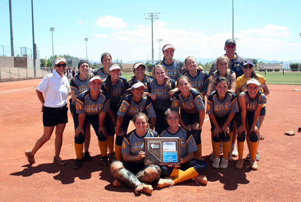 Timmie Bennett Members of the Lady Eagles softball team celebrate their recent win at the regional tournament.