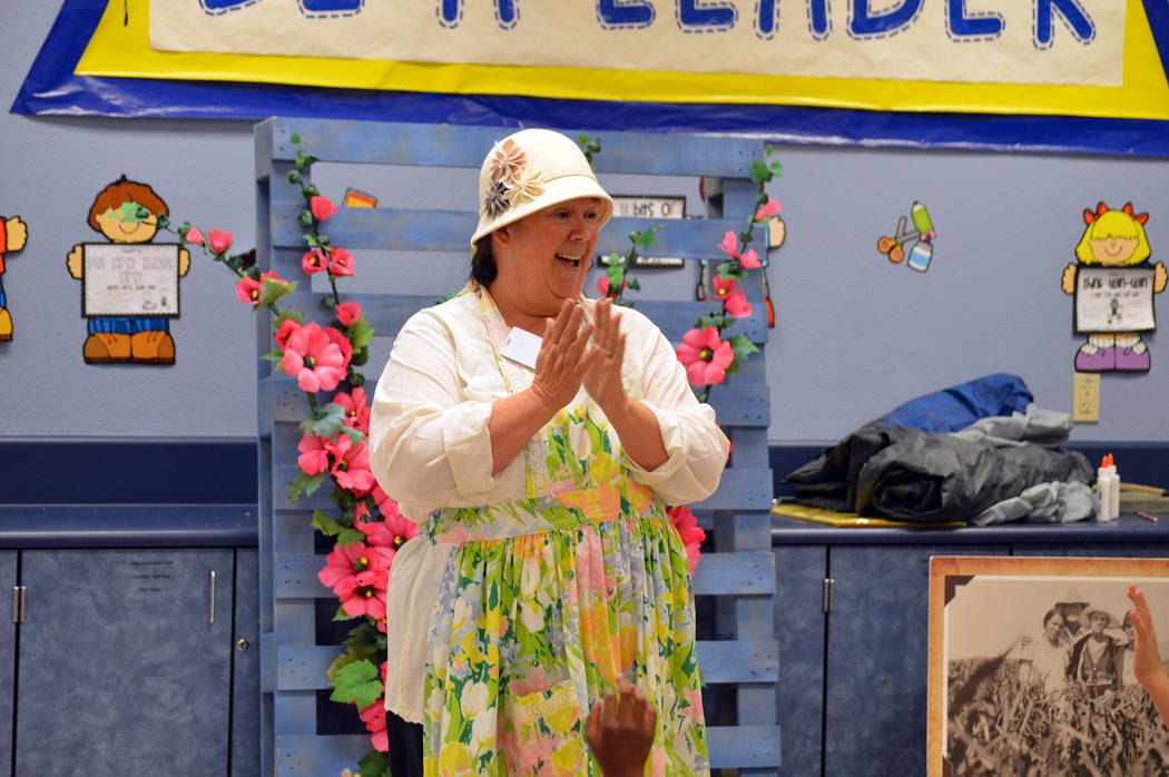 Celia Shortt Goodyear/Boulder City Review Cheryl Waites portrays Grandma Pickett at the Boulder City/Hoover Dam Museum 31ers Educational Outreach program at Andrew J. Mitchell Elementary School on ...