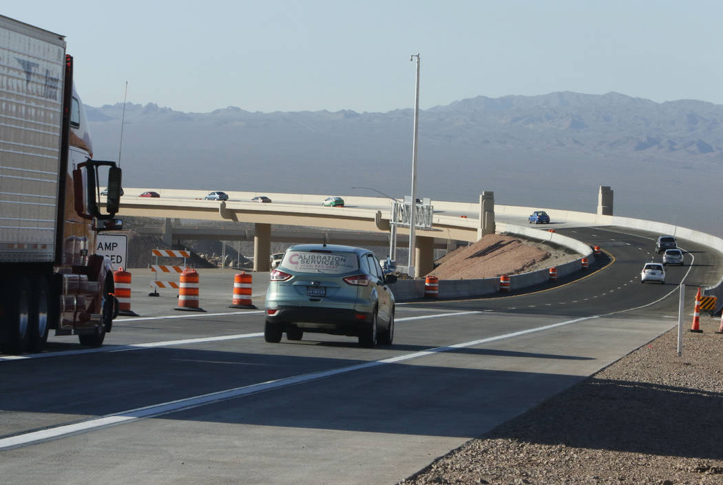 Motorists drive on the newly opened southbound Interstate 11 near the Railroad Pass hotel-casino in Henderson, Wednesday, Aug. 16, 2017. (Bizuayehu Tesfaye/Las Vegas Review-Journal) @bizutesfaye
