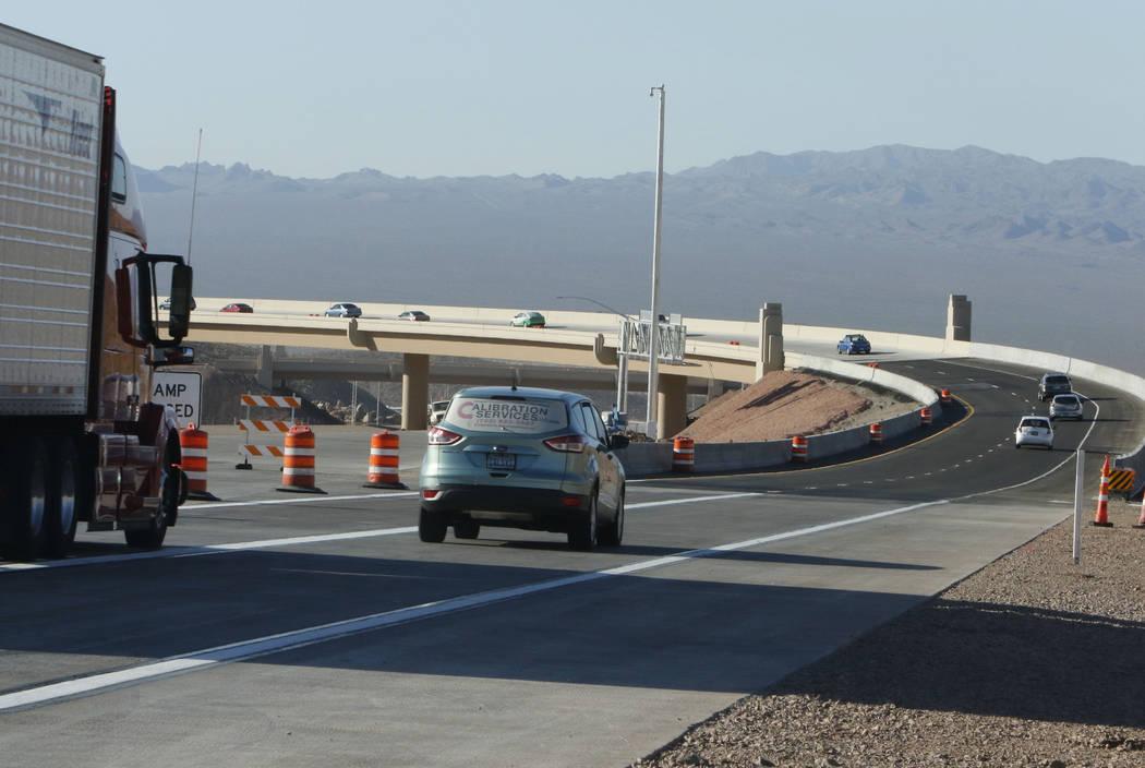 Motorists drive on the newly opened southbound Interstate 11 near the Railroad Pass hotel-casino in Henderson, Wednesday, Aug. 16, 2017. (Bizuayehu Tesfaye/Las Vegas Review-Journal) @bizutesfaye